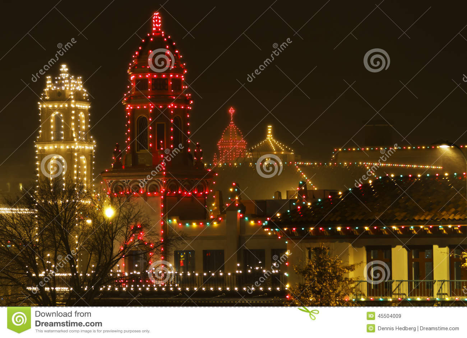 Christmas Lights On The Plaza On A Rainy Night Stock Image - Image ...