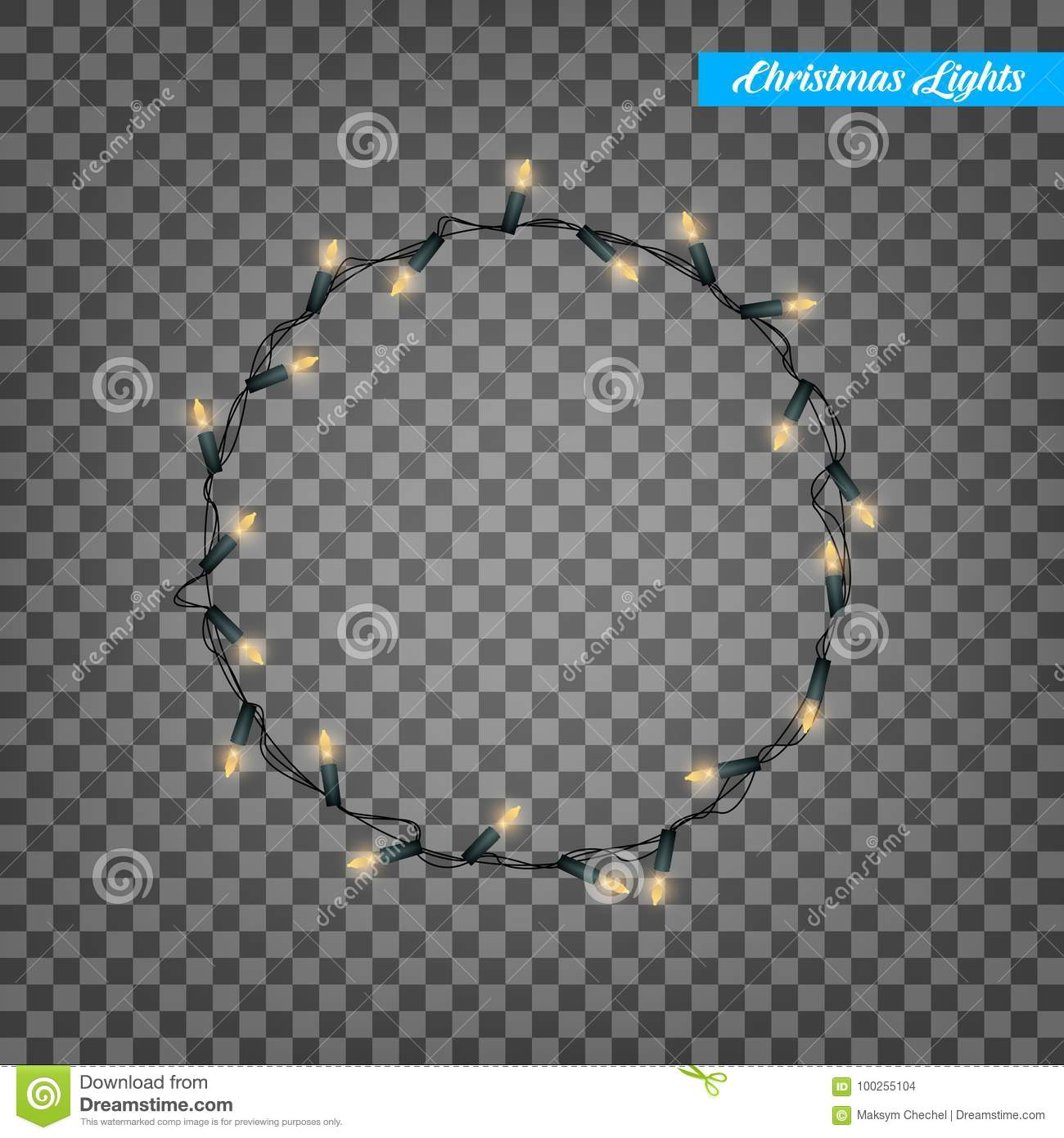 Christmas lights. Realistic string lights design elements. Glowing lights for winter holidays. Shiny garlands for Xmas