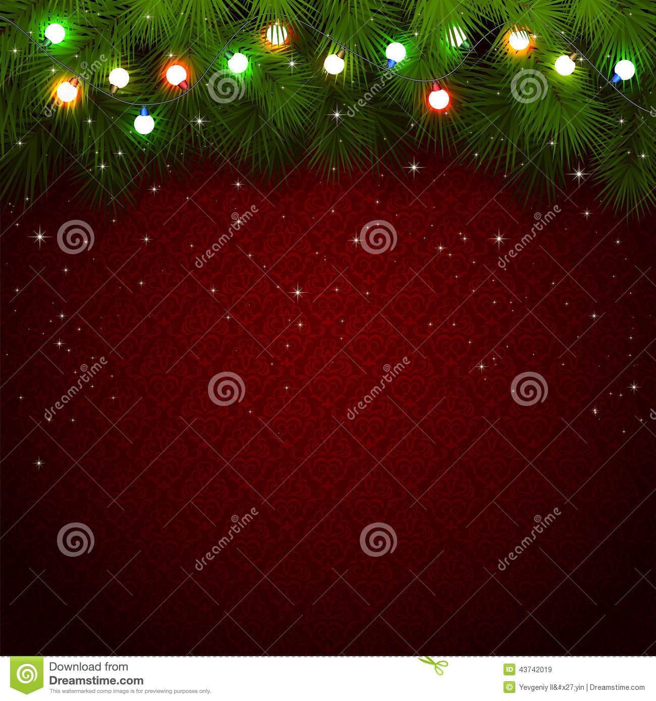 Christmas Lights On Red Background Stock Vector