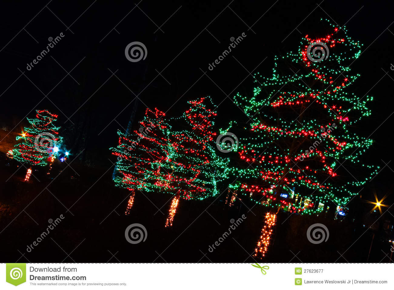 Christmas lights red and green trees stock image