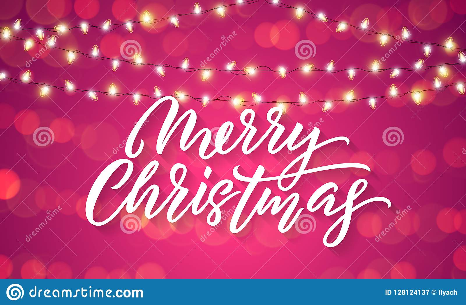 Christmas lights and sparkling light flares on Xmas holiday background. Vector Merry Christmas lettering with holiday glittery spa