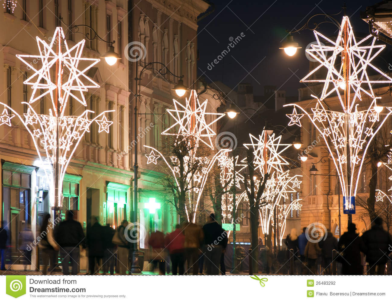 buy popular 63e28 b4fad Christmas Lights On Street With People Stock Photo - Image ...