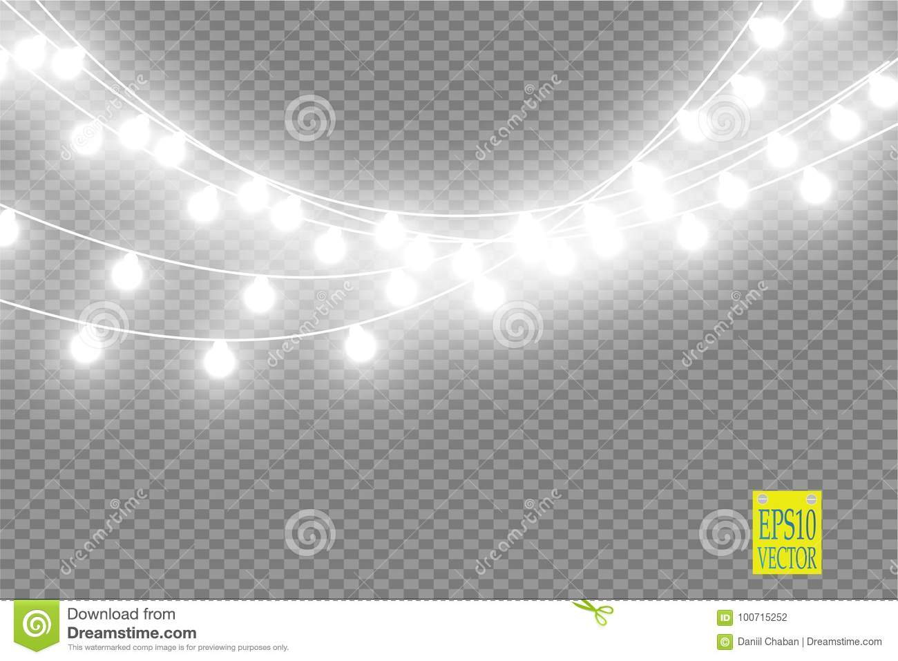 download christmas lights on transparent background xmas glowing garland vector illustration stock vector