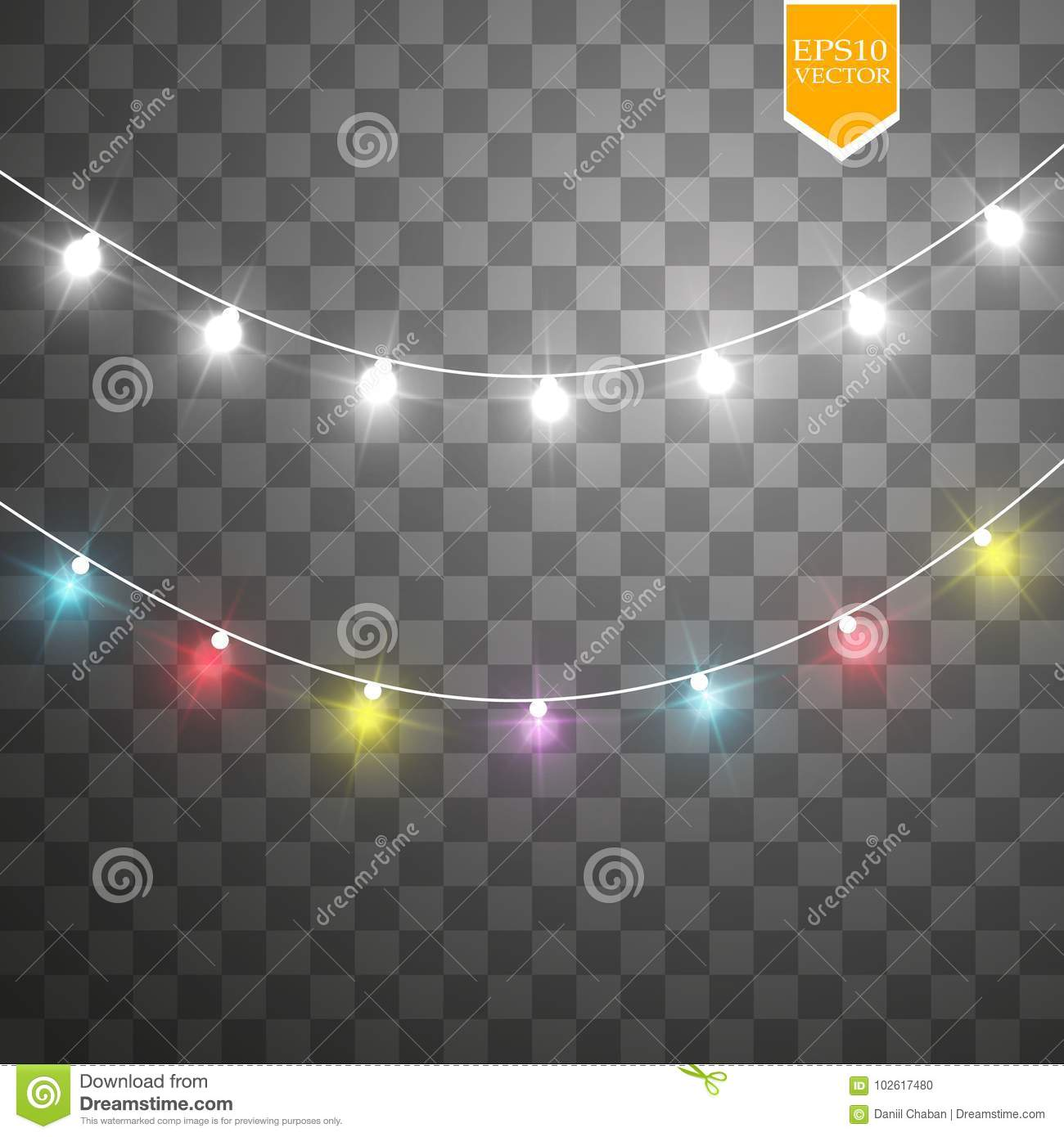 Christmas lights on transparent background. Xmas glowing garland. Vector illustration