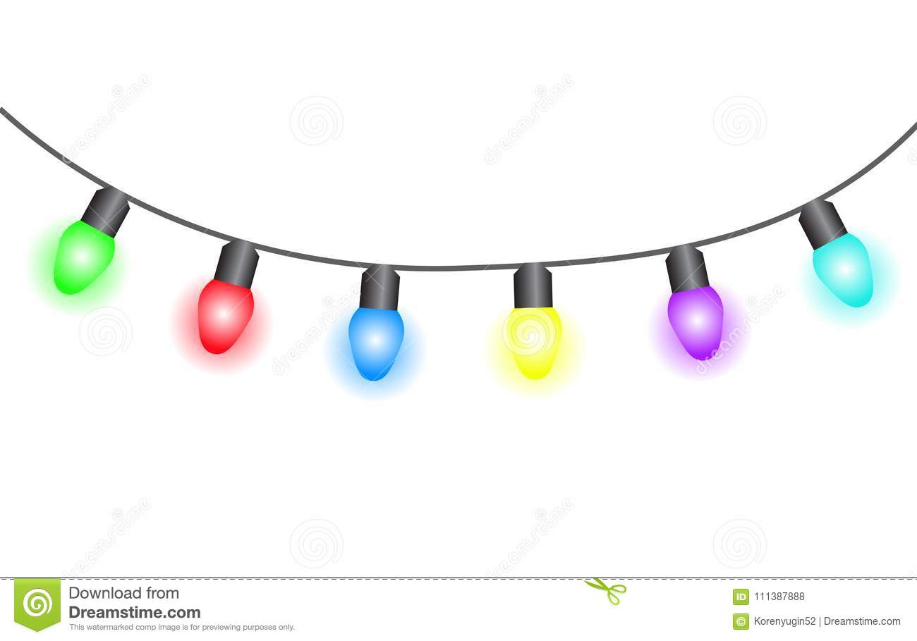 Christmas Lights Cartoon.Christmas Lights On White Background Vector Illustration