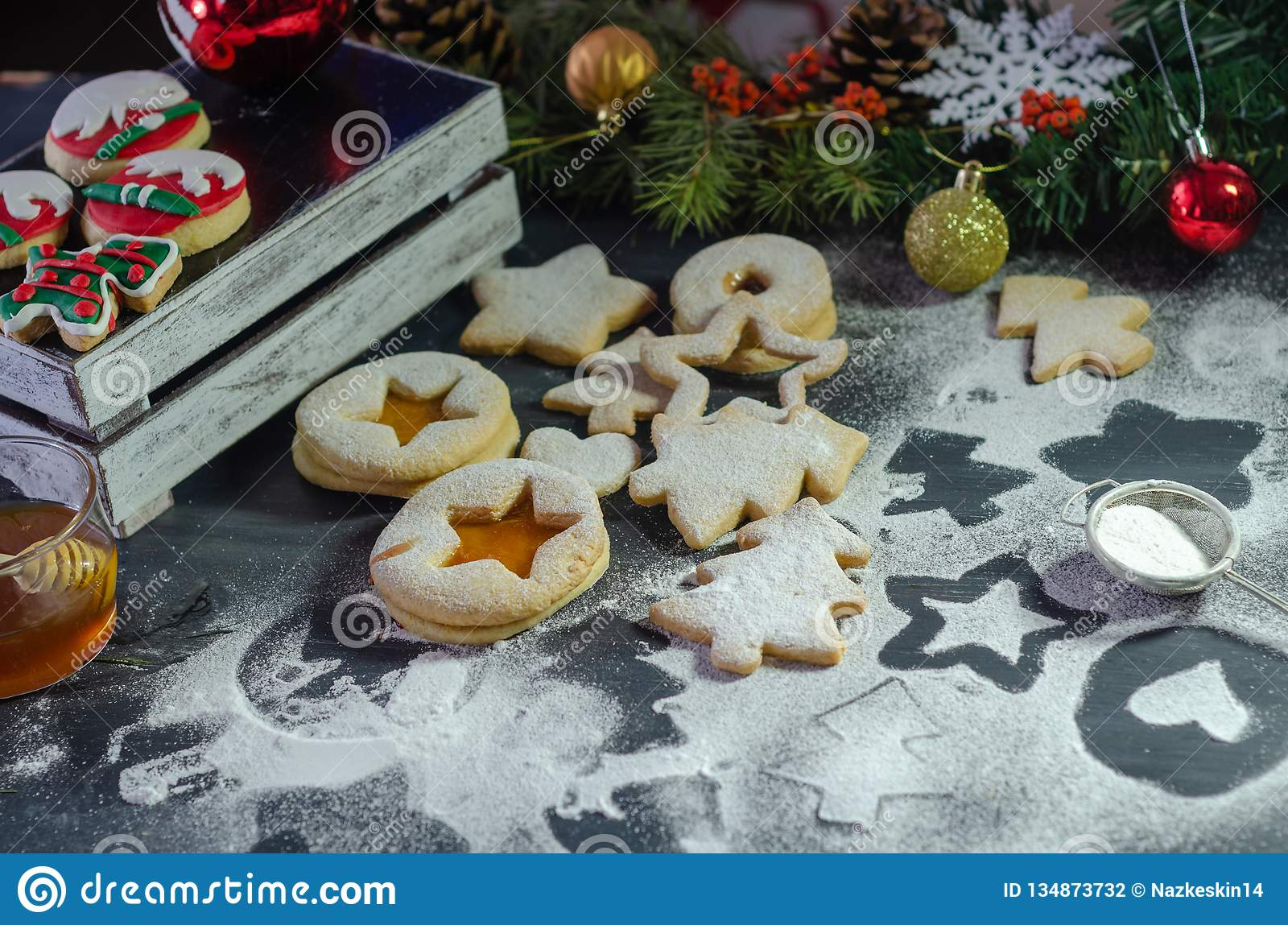 Christmas Linzer Cookies And Christmas Ornaments Stock Photo Image