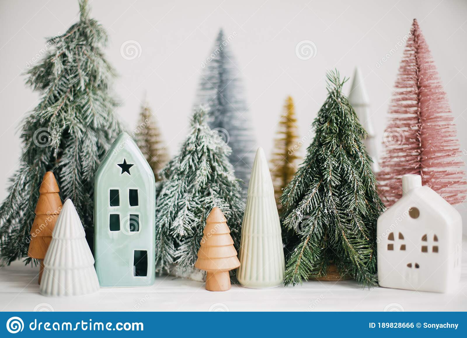 Christmas Little Houses And Trees On White Background Festive Modern Decor Happy Holidays Miniature Cozy Village Ceramic Stock Photo Image Of Decoration Modern 189828666