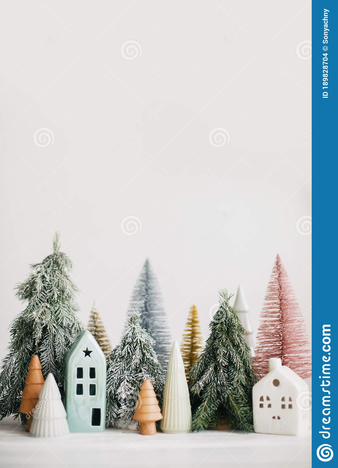 Christmas Little Houses And Trees On White Background Festive Modern Decor Happy Holidays Miniature Cozy Village Ceramic Stock Photo Image Of Vertical Background 189828704