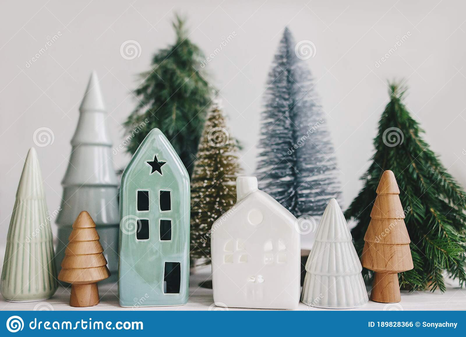 Christmas Little Houses And Trees On White Background Holiday Festive Decor Miniature Village Ceramic Houses Wooden Christmas Stock Photo Image Of House Cozy 189828366