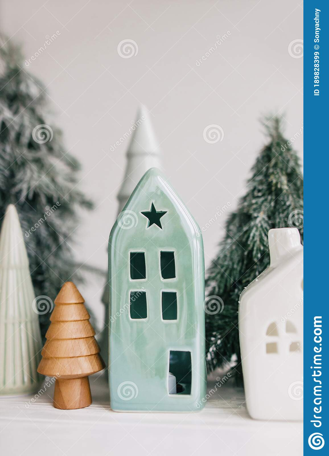 Christmas Little Houses And Trees On White Background Holiday Festive Decor Miniature Village Ceramic Houses Wooden Christmas Stock Image Image Of Green Miniature 189828399