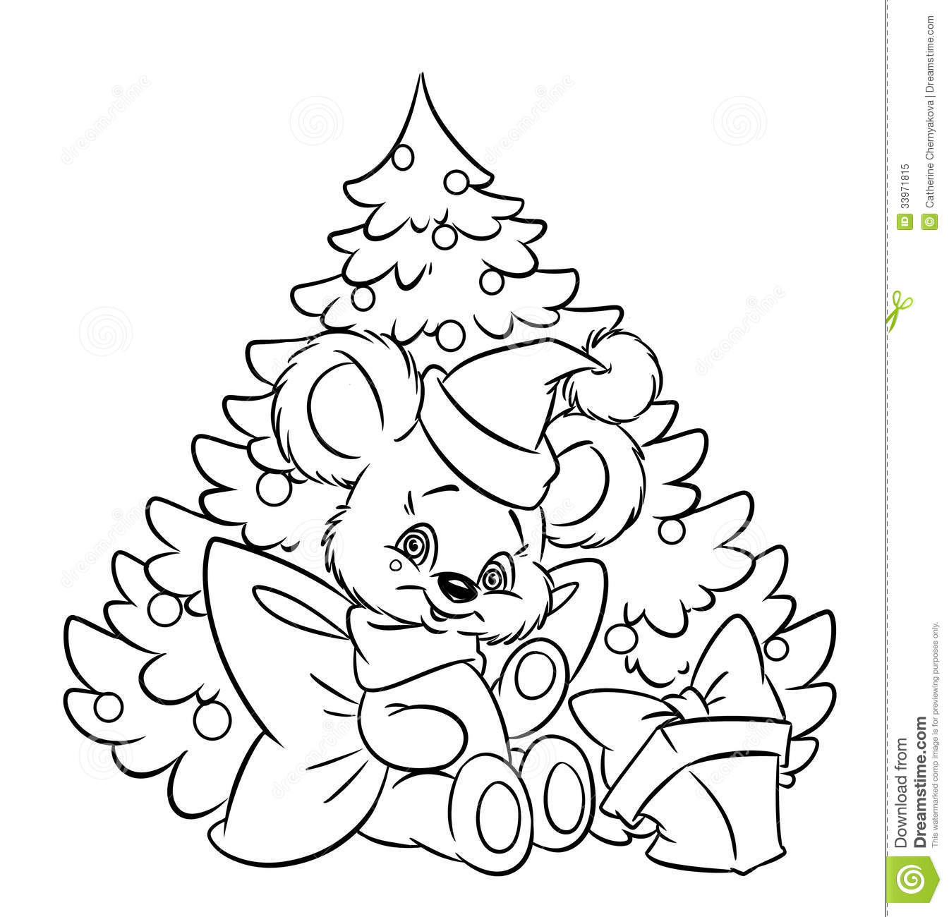 Christmas Little Teddy Bear Tree Gift Coloring Pa Stock