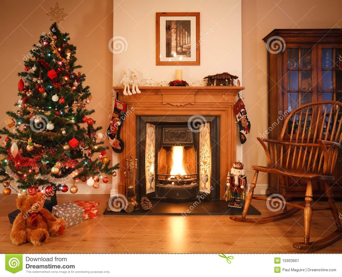 christmas living room. Christmas living room stock image  Image of chair fireplace 15903661