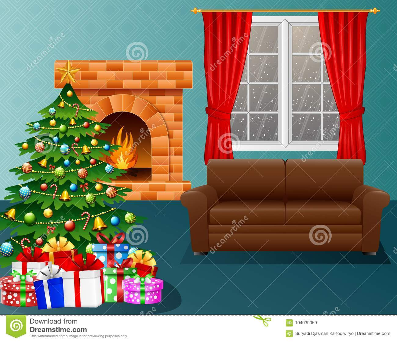 Christmas Living Room With Fireplace, Armchair, Xmas Tree ...
