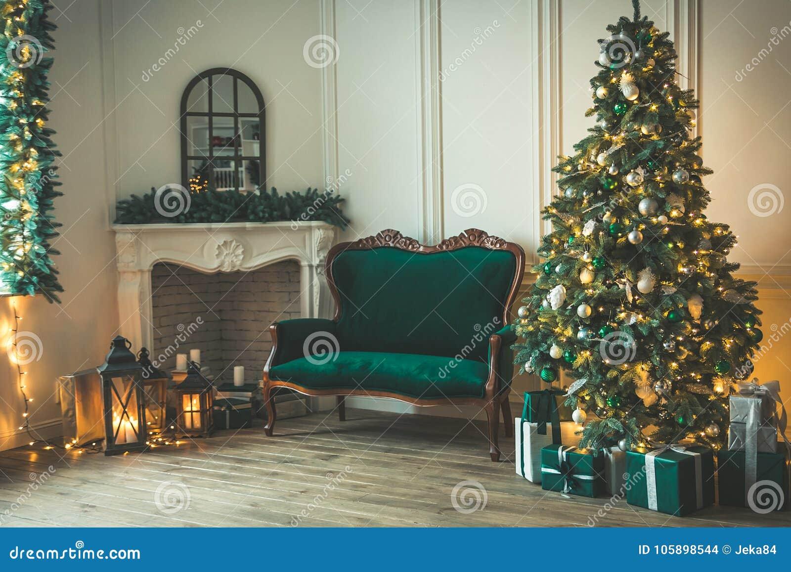 Christmas Living Room With A Fireplace, Sofa, Christmas