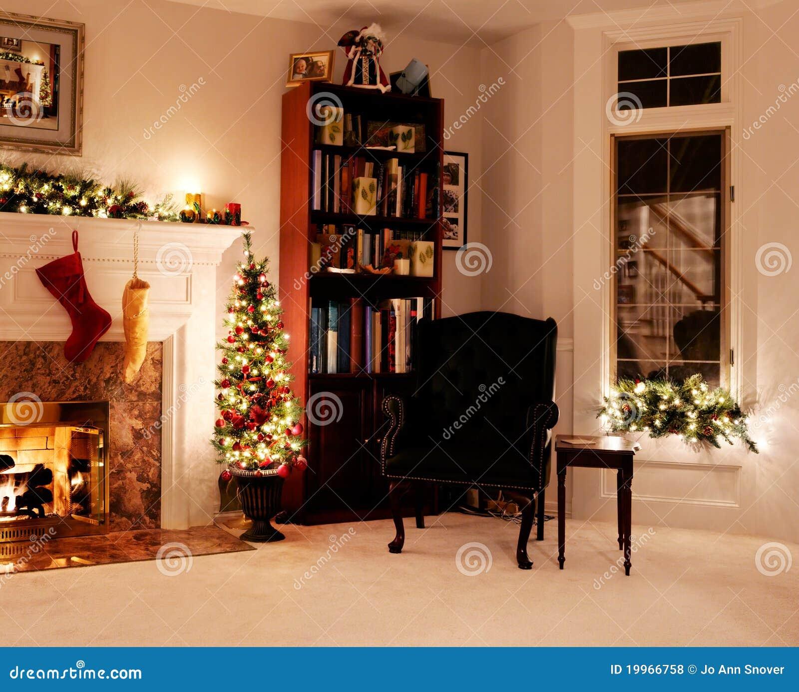 Christmas Living Room Holiday Lights Stock Photo Image Of Fireplace Black 19966758
