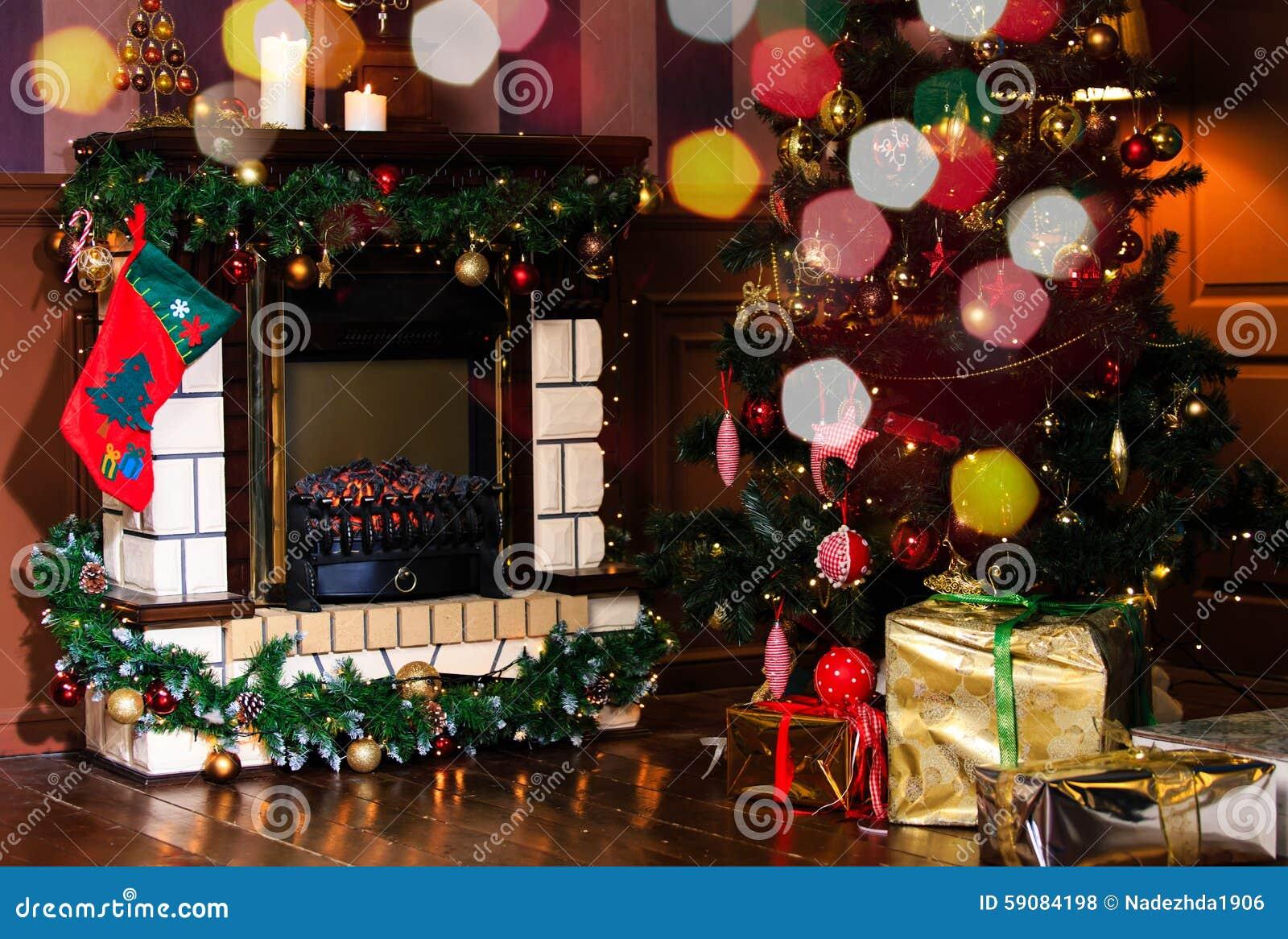 Christmas Living Room Interior Decoration Stock Photo