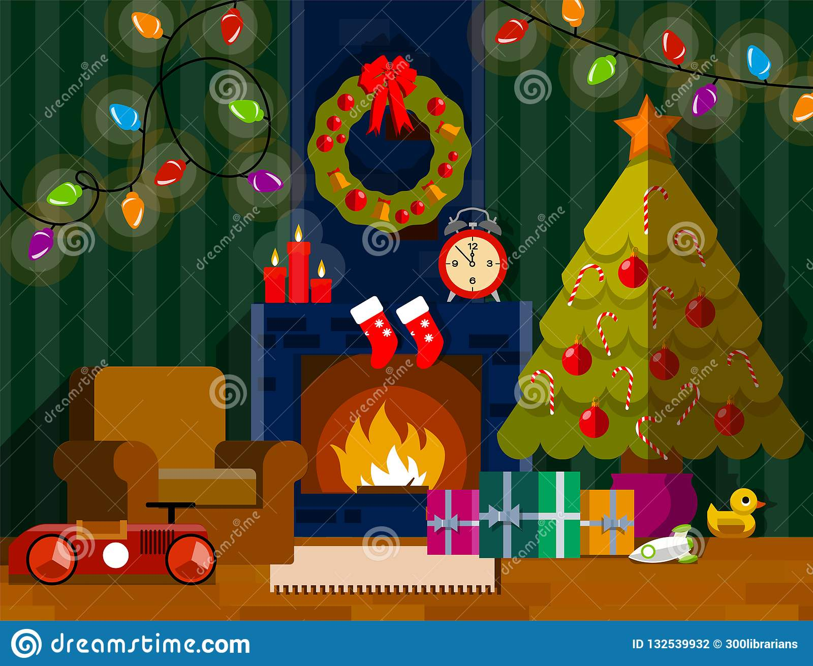 Christmas Living Room Interior With Fireplace Stock Vector