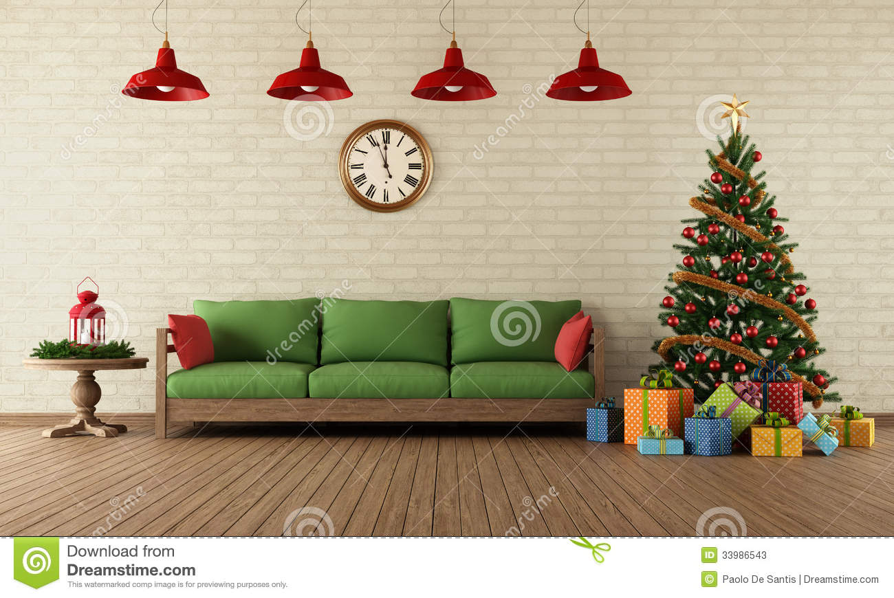 Vintage Christmas Living Room Clip Art