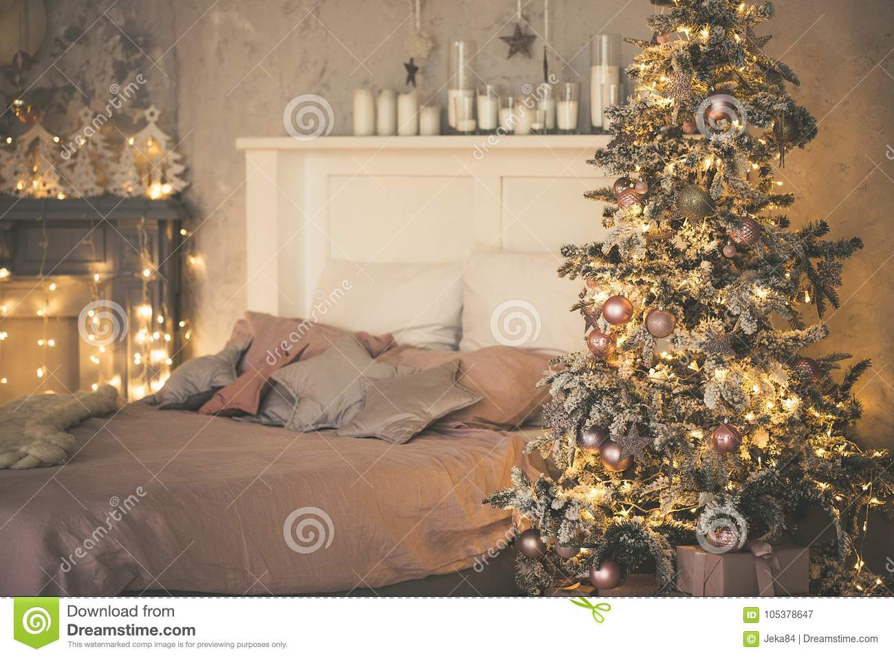 Christmas Living Room With A Christmas Tree Gifts And Bed Beautiful New Year Decorated Classic Home Interior Winter Background Stock Image Image Of Gift Indoors 105378647