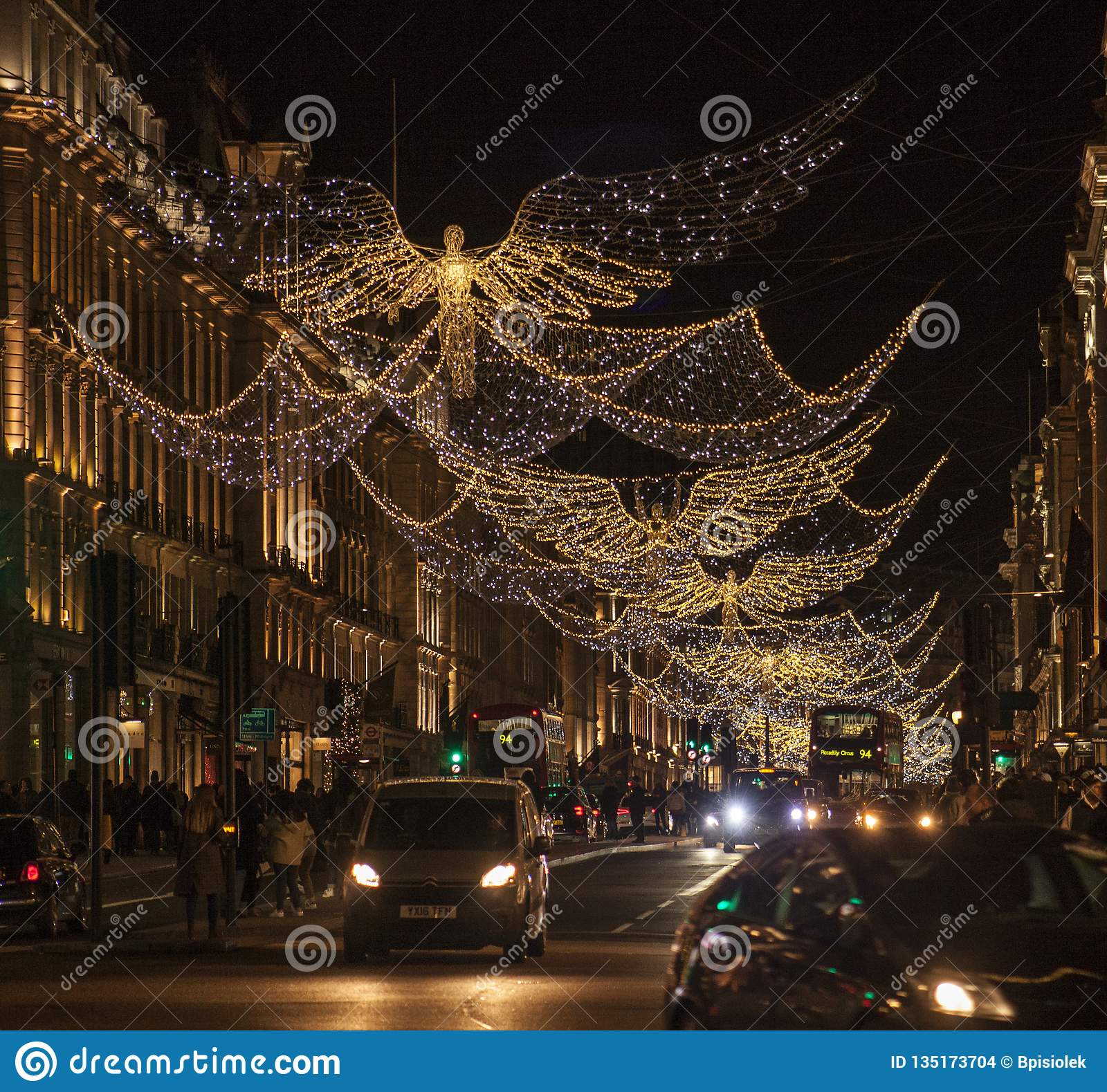 England Christmas Decorations.Christmas In London England Angels In Regent Street At