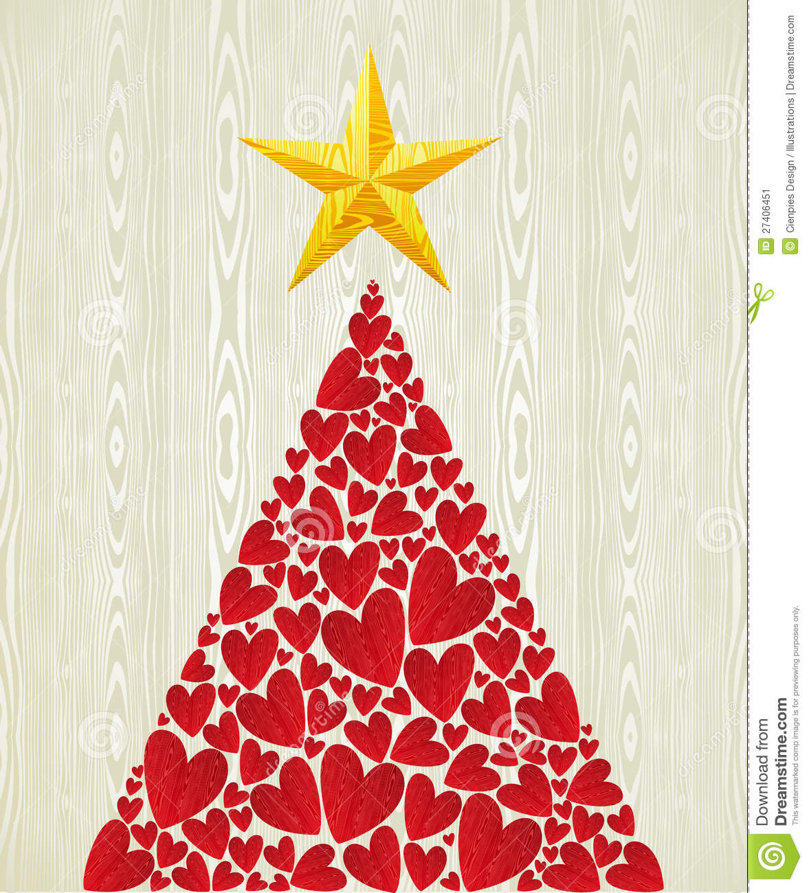 christmas love heart pine tree stock image