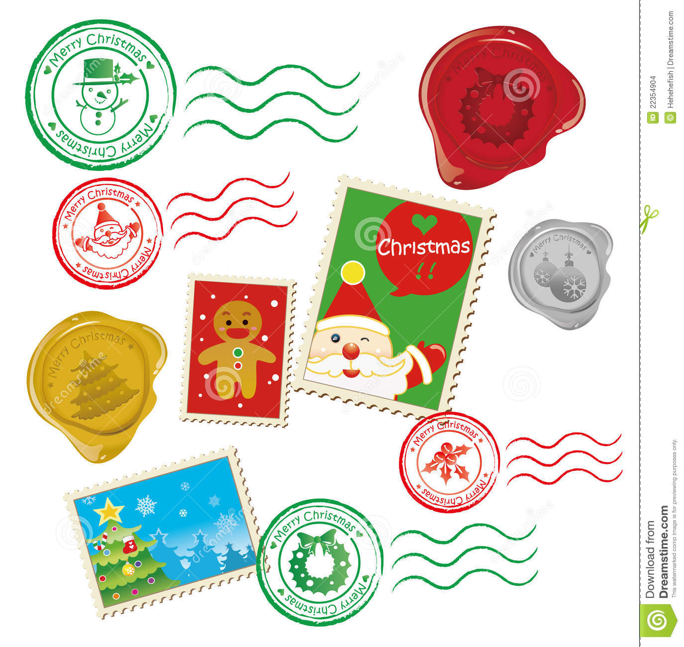 Graphics of wax seal, stamps and chops especially for Christmas day.