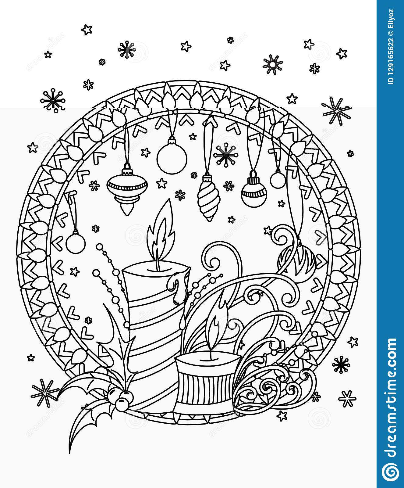 - Christmas Coloring Page Stock Vector. Illustration Of Adult