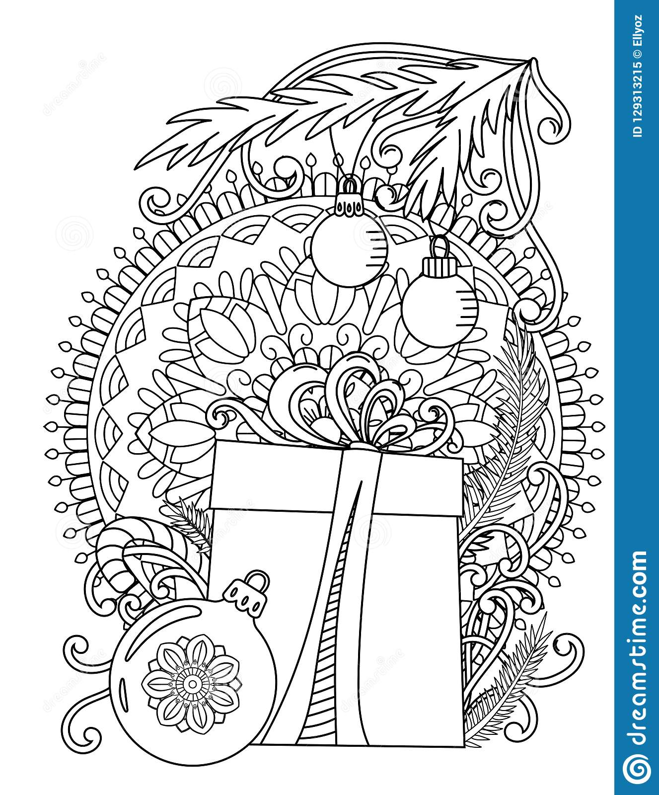 Christmas Mandala with Bell and Angel in Town coloring page | Free ... | 1600x1327