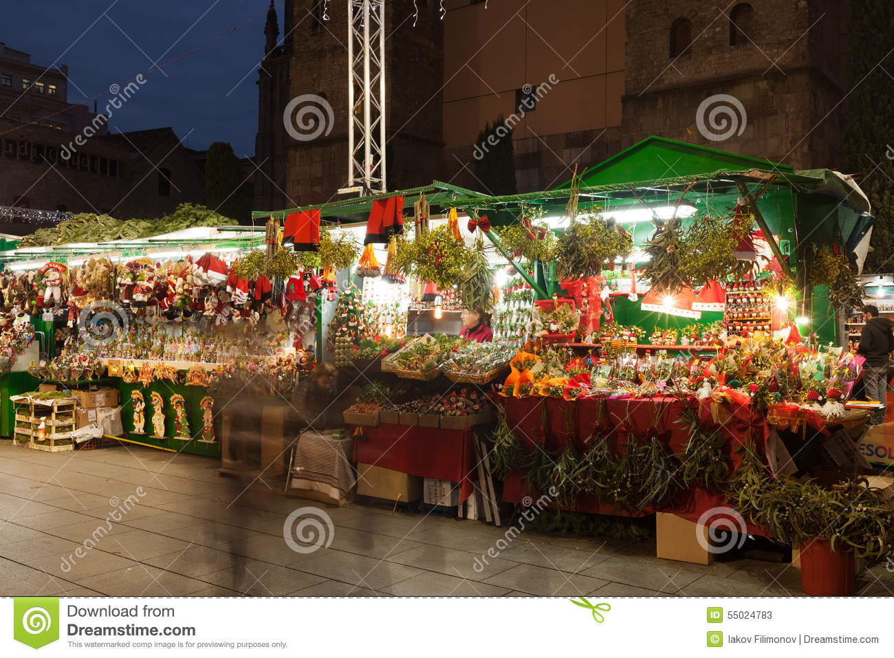 Christmas In Barcelona Spain.Christmas Market In Barcelona Spain Editorial Stock Photo