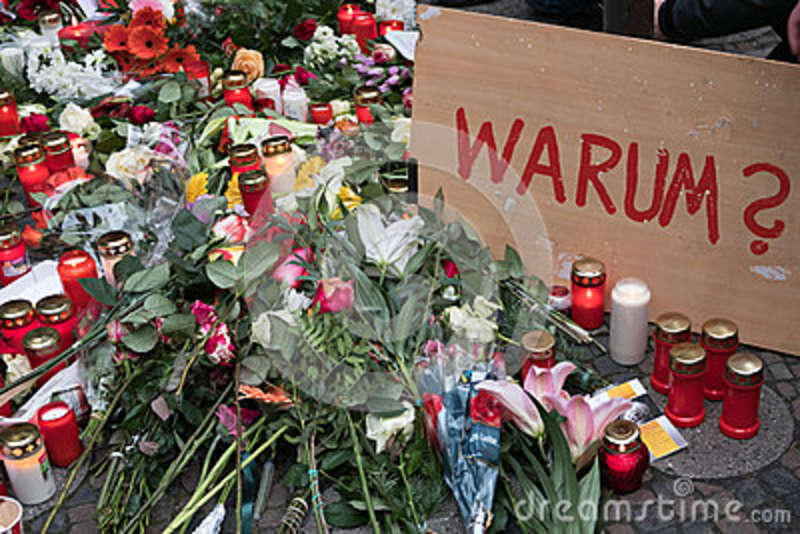 The Christmas Market in Berlin, the day after a truck drove into a crowd of people.