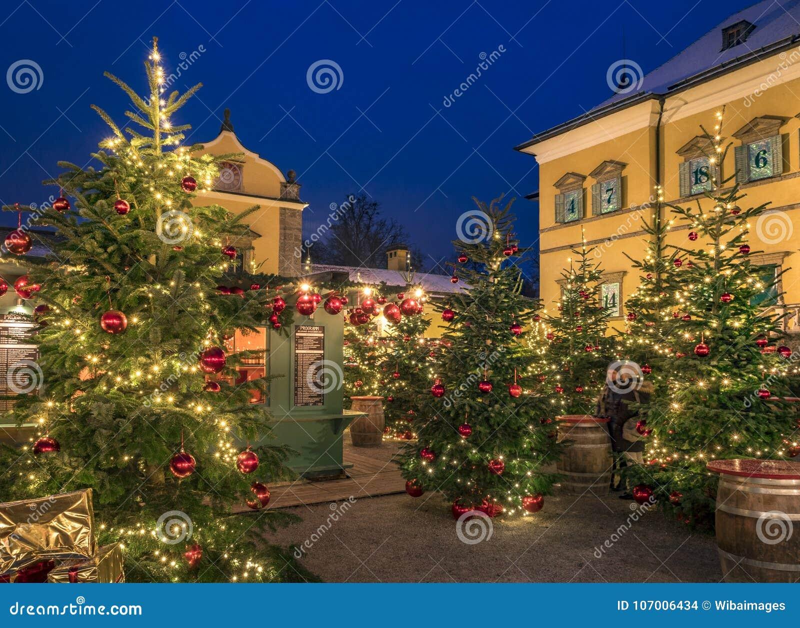 Salzburg Christmas Market.Christmas Market Hellbrunn Palace Salzburg Austria
