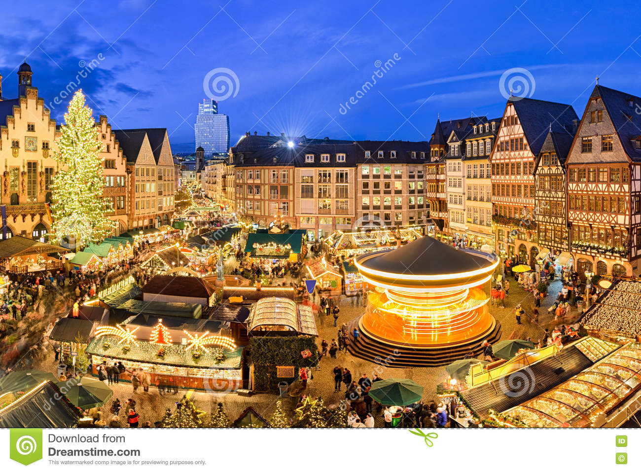 christmas market in frankfurt germany stock photo image of romer winter 74306468. Black Bedroom Furniture Sets. Home Design Ideas