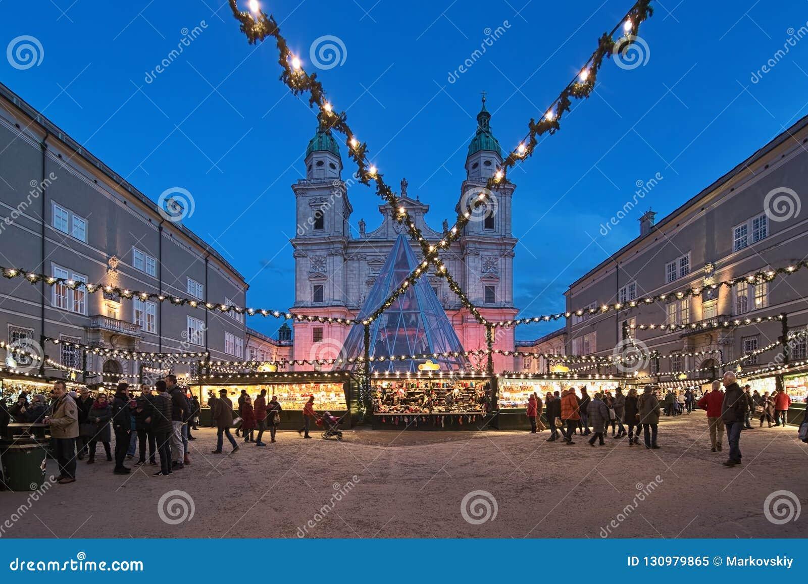 Salzburg Christmas Market.Christmas Market In Front Of Salzburg Cathedral Austria