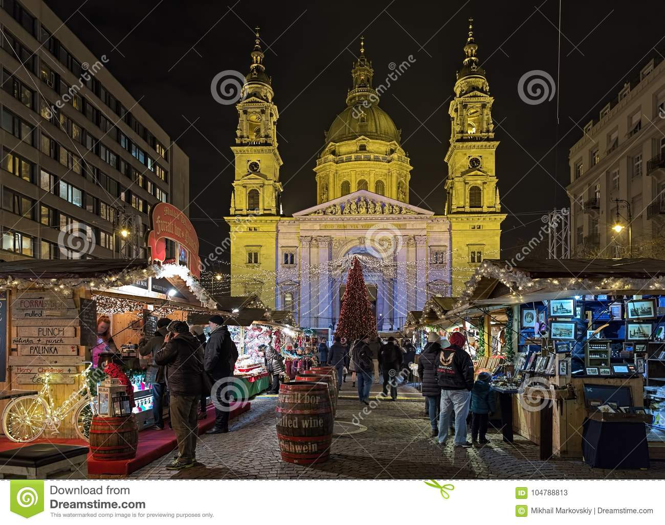 download christmas market in front of st stephens basilica in budapest editorial