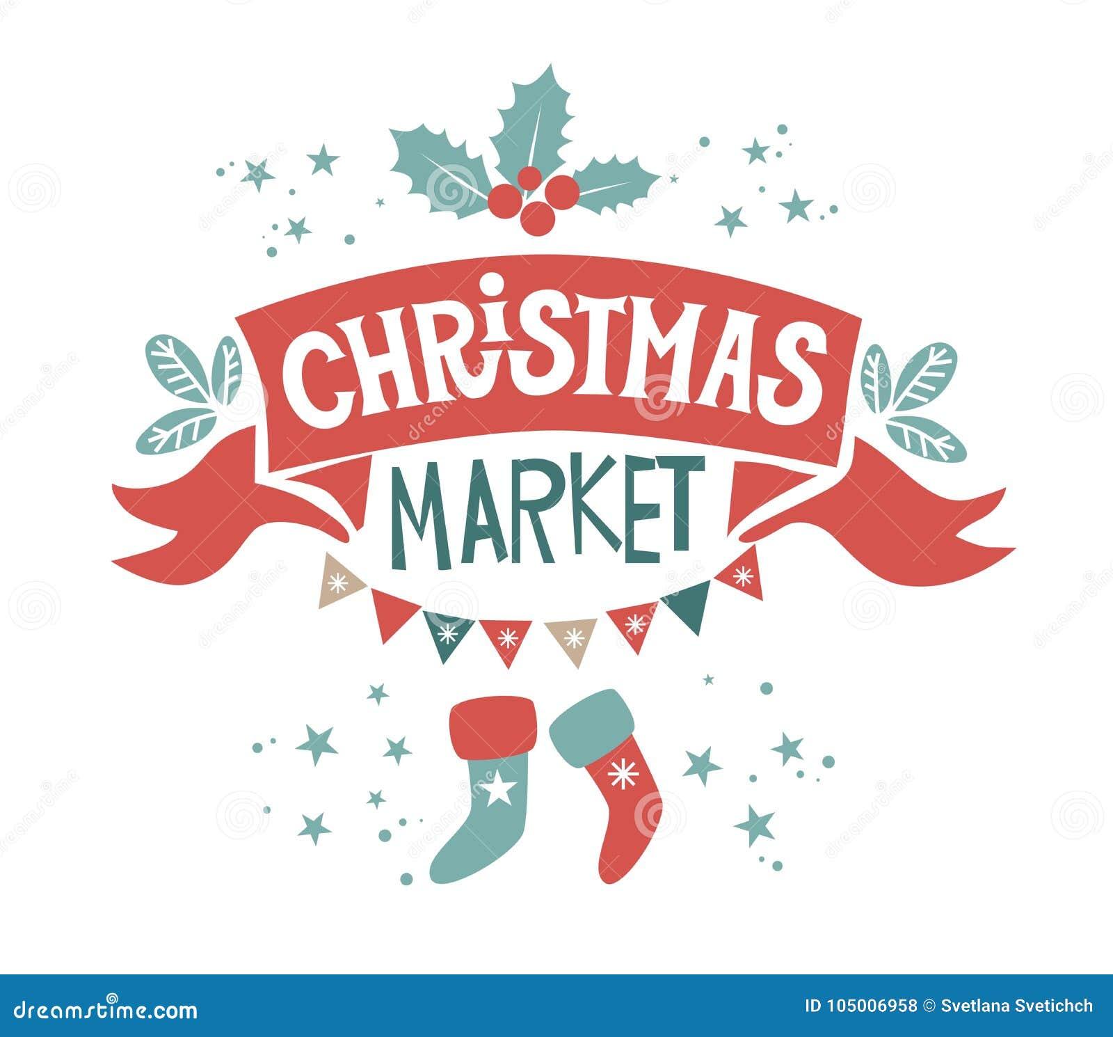 Christmas Market Illustration Stock Vector - Illustration of cute ...
