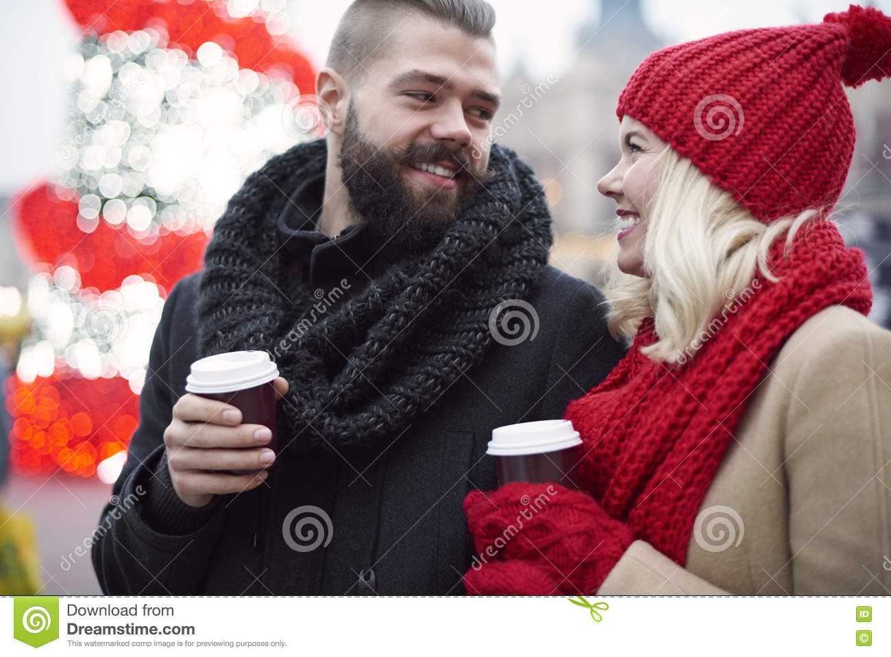 Christmas market with loving person