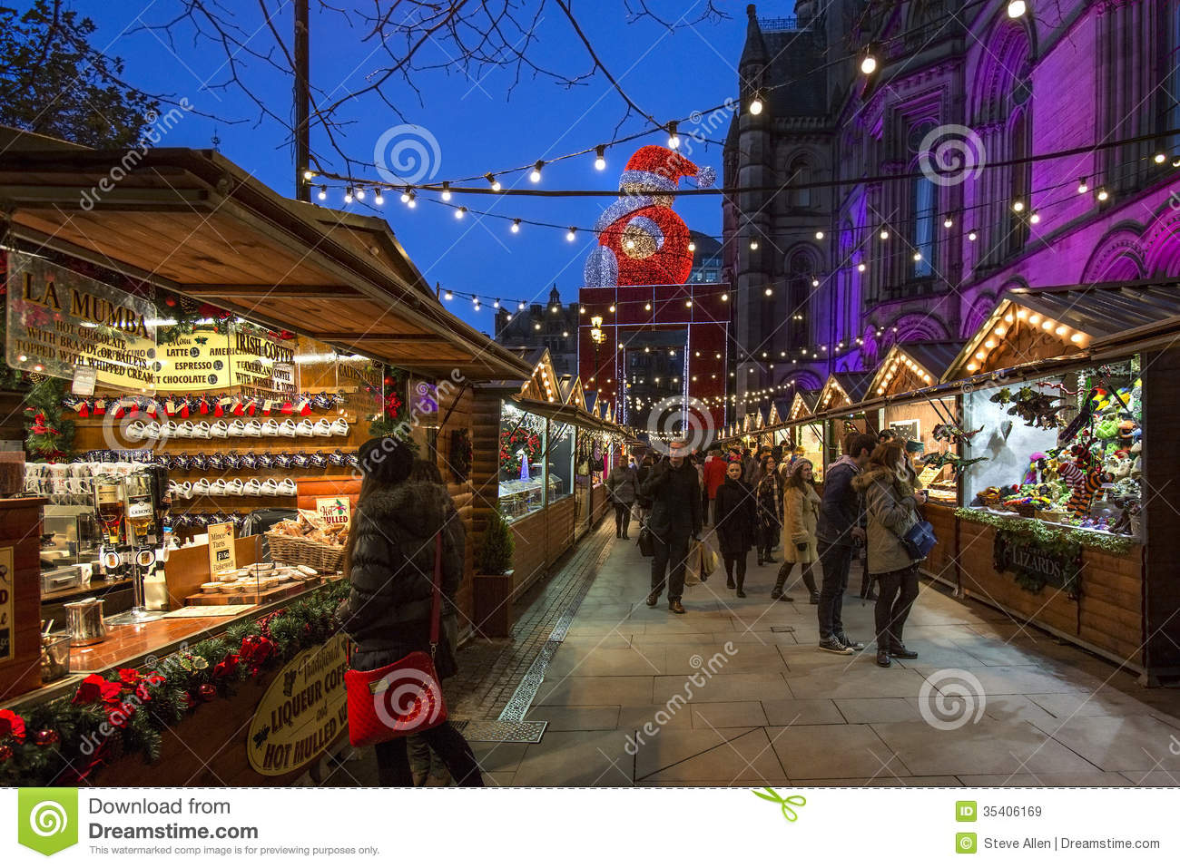 christmas market near the town hall in albert square in the city of manchester in the northwest of england - Christmas In The Northwest