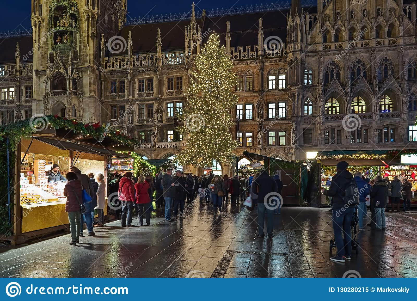 Christmas In Munich Germany.Christmas Market On Marienplatz In Munich In Dusk Germany