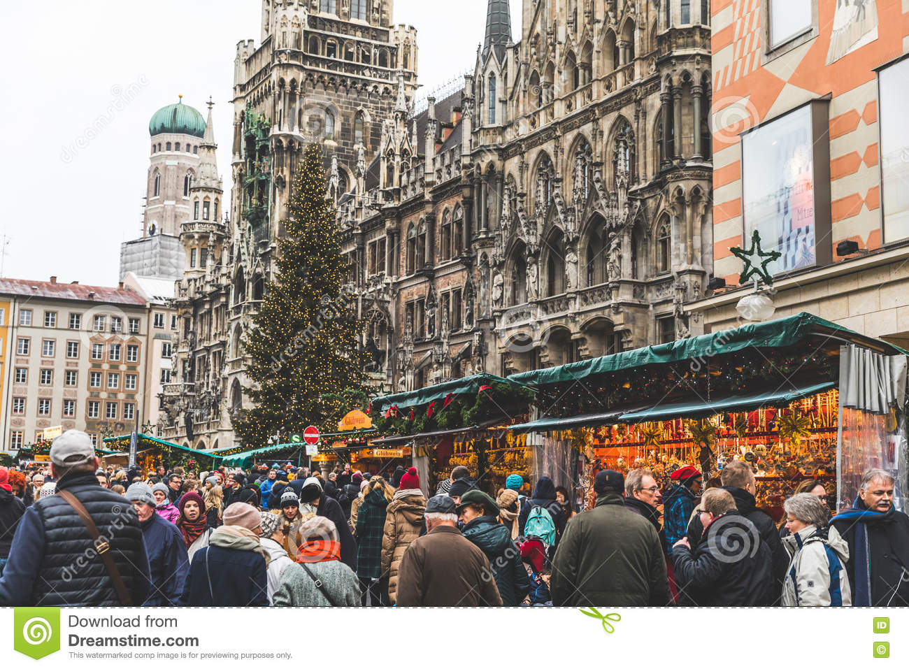 Christmas In Munich Germany.Christmas Market In Munich Germany Editorial Stock Photo