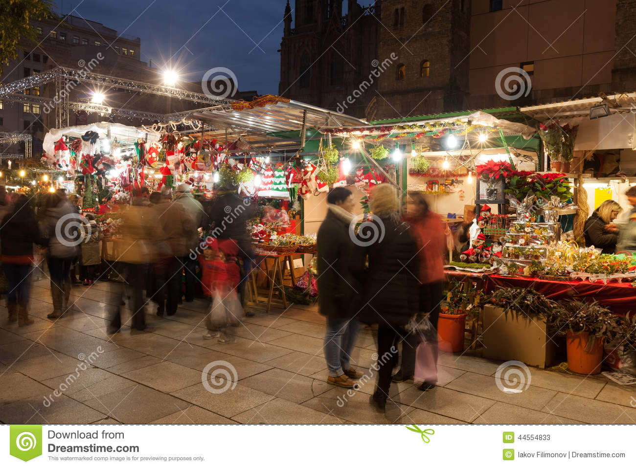 Christmas market near Cathedral in evening