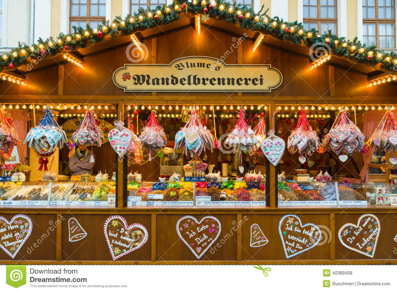 German Christmas Market >> Christmas Market In The Old Town Of Potsdam. Selling Traditional Sweets And Gingerbread ...