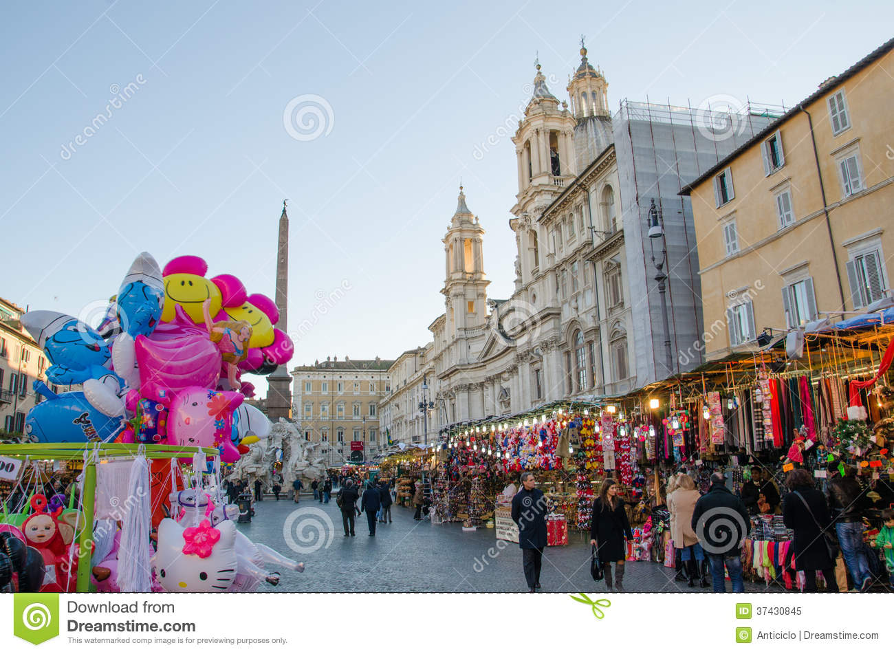 Christmas Market At The Piazza Navona Editorial Image