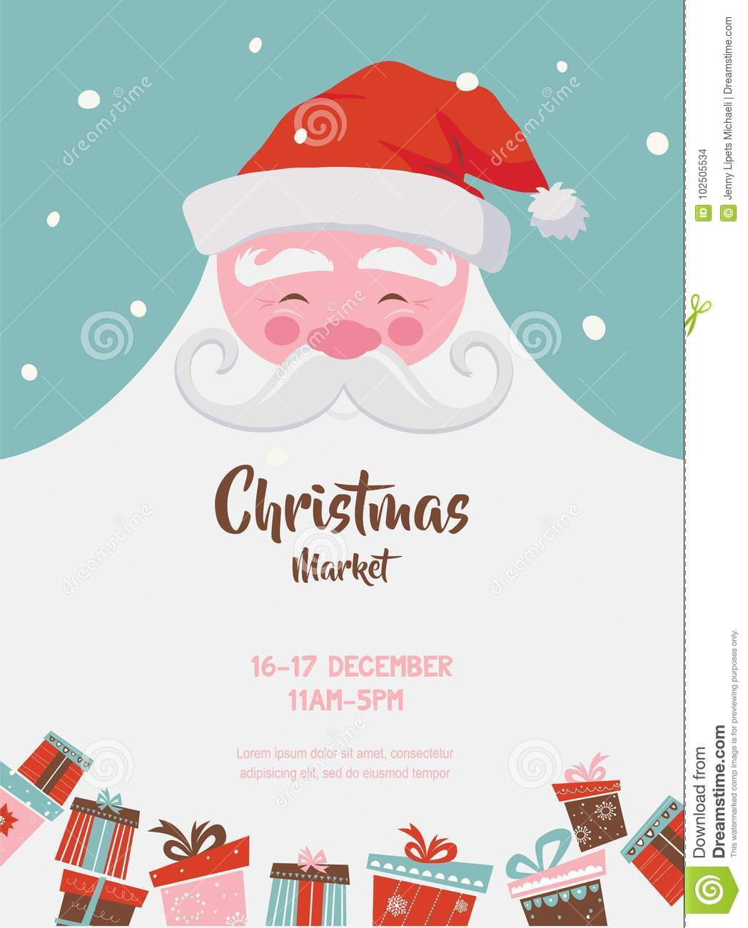 Christmas Market Poster With Santa And Presents. Vector Illustration ...