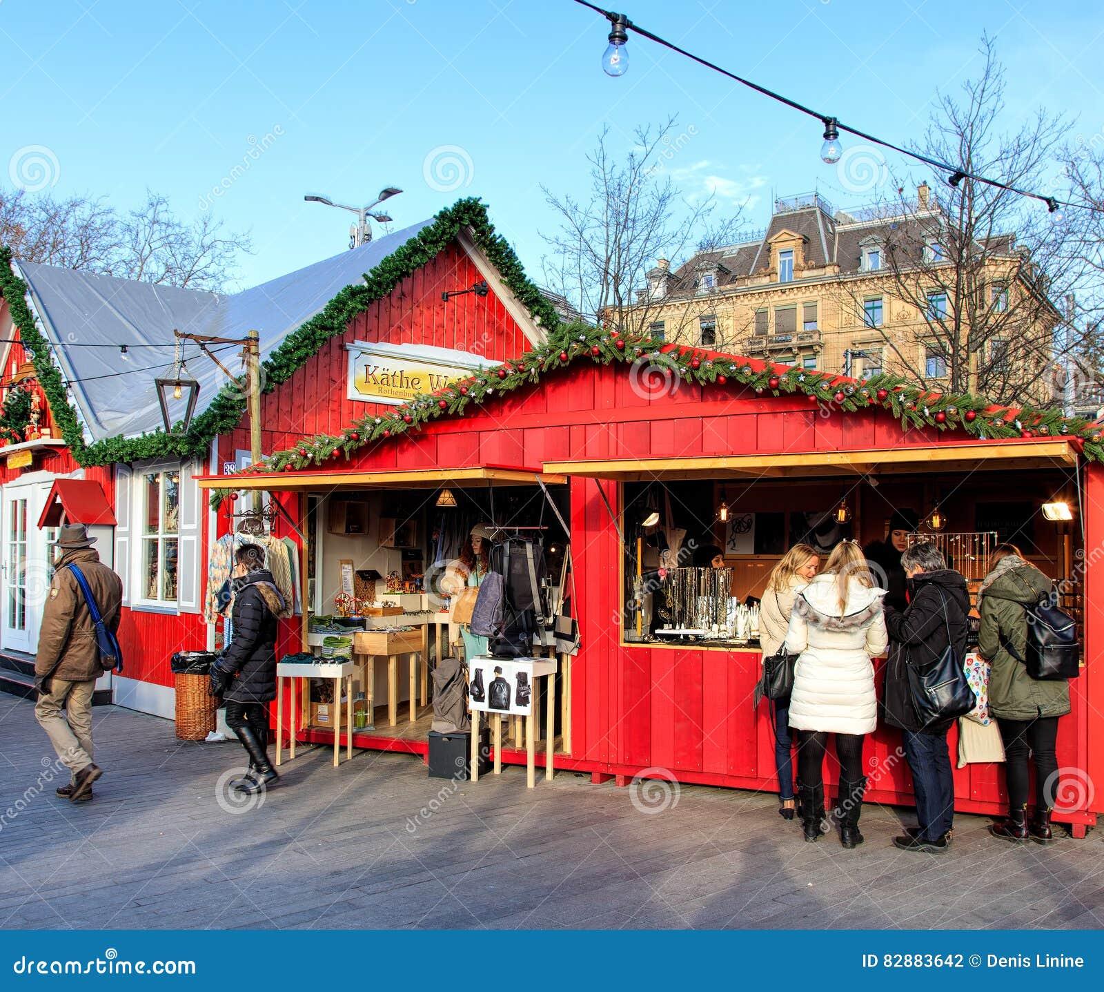 Christmas Market In Zurich, Switzerland Editorial Photography ...