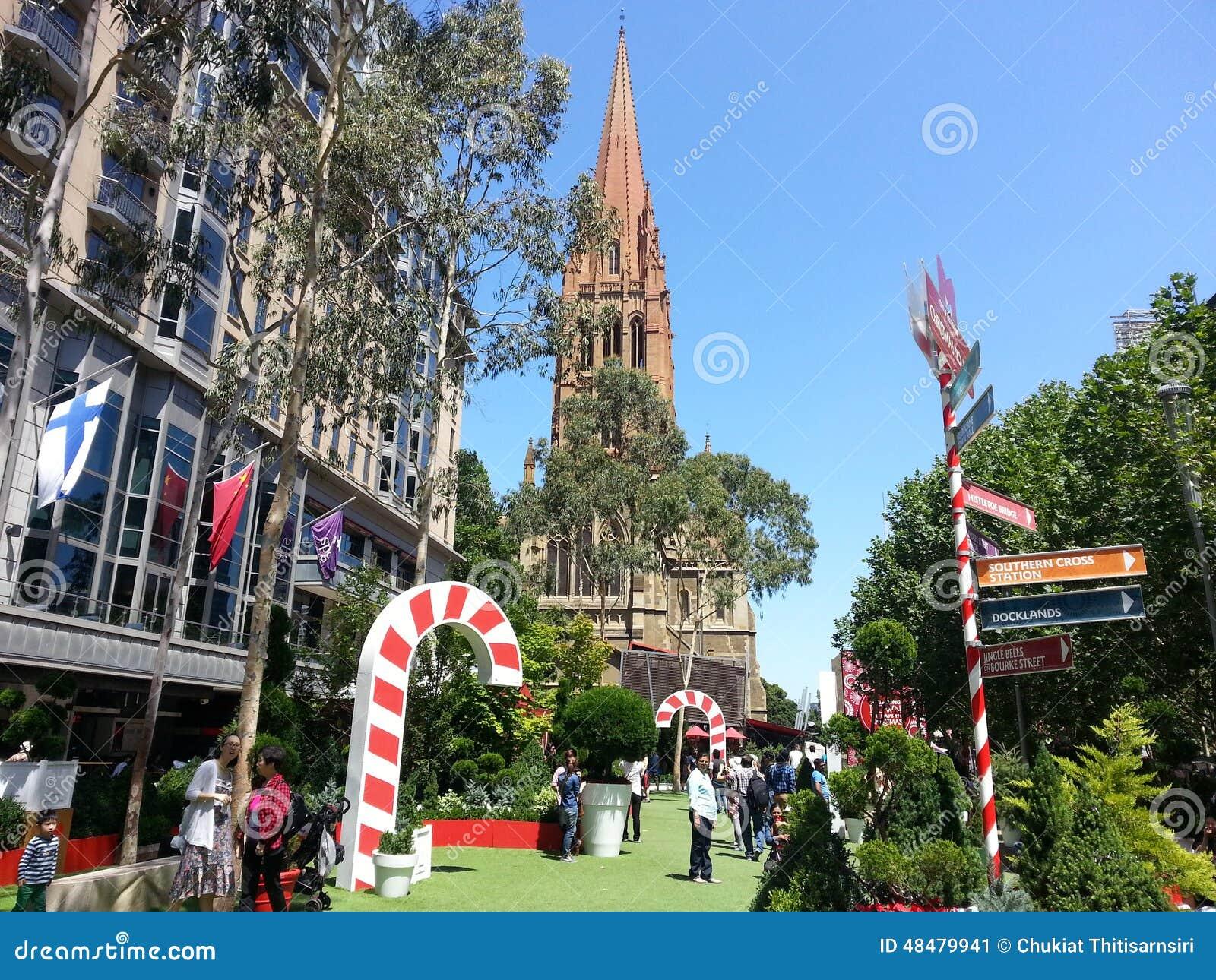 Christmas In Australia Background.Christmas Melbourne Of Australia Editorial Photo Image Of