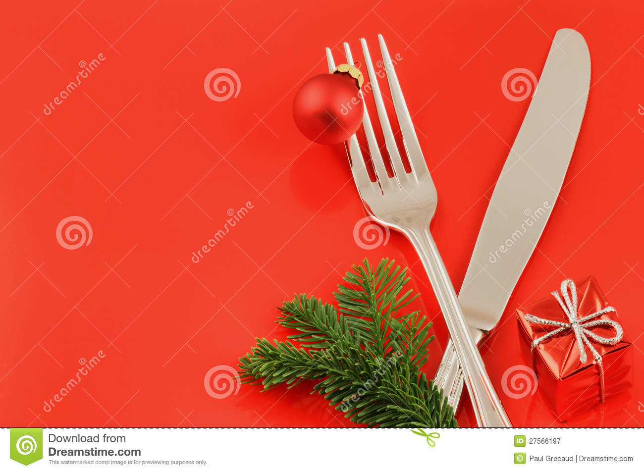 Christmas Menu Concept Over Red Background Stock Image