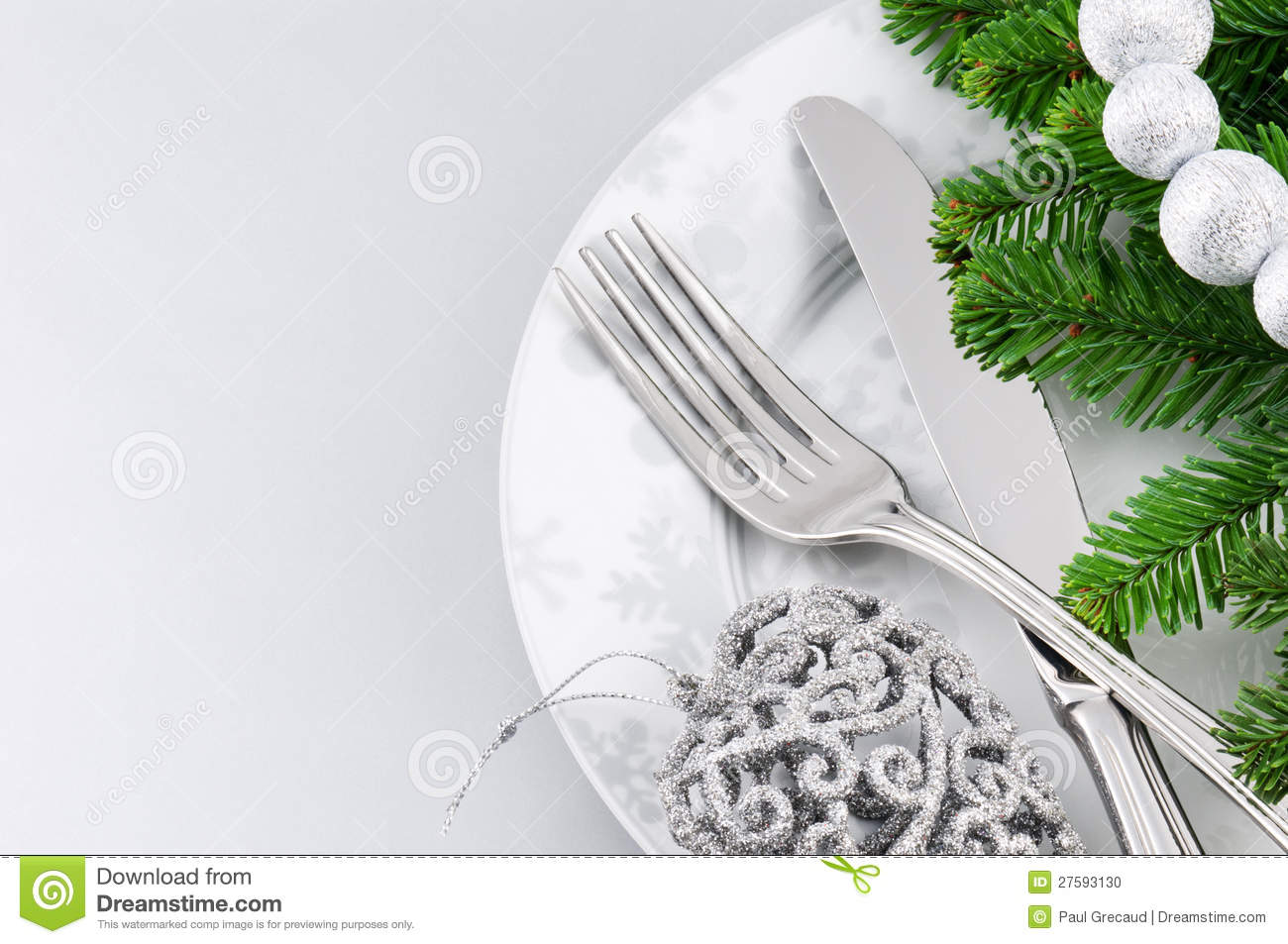 Christmas Menu Concept Over Silver Background Stock Photo