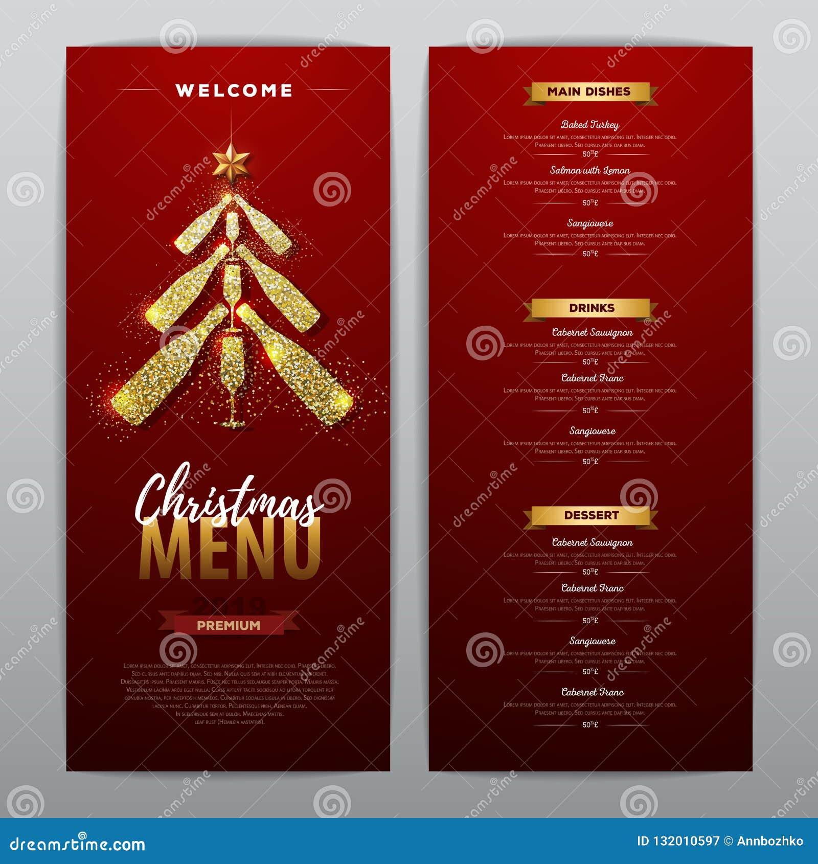 Christmas Restaurant Poster.Christmas Menu Design With Golden Champagne Bottles