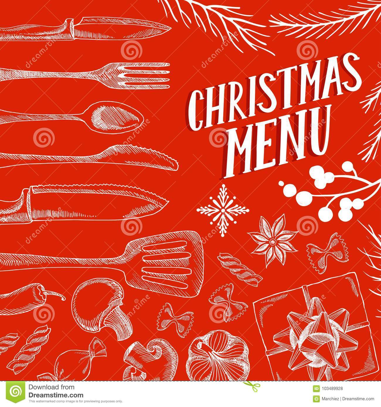 christmas menu food template for restaurant stock vector