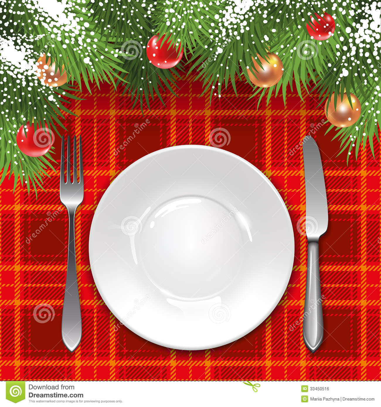 Christmas menu template with holiday decorations and tartan tablecloth ...